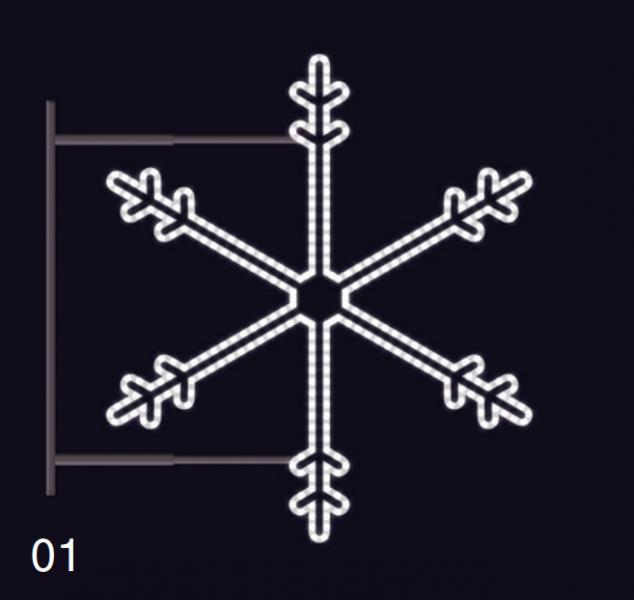SNĚHOVÁ VLOČKA s konzolí 75x75cm  studená bílá