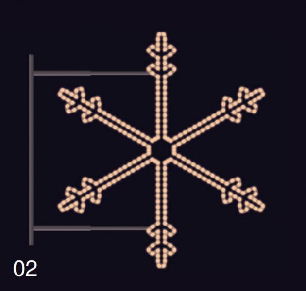 SNĚHOVÁ VLOČKA s konzolí 1,15x1,05m teplá bílá