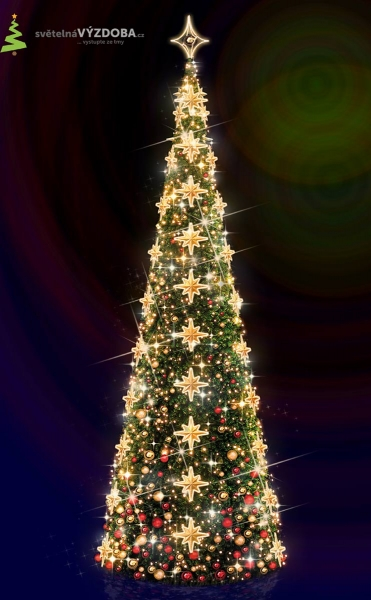 Vánoční strom s umělým jehličím, s LED řetězy , hvězdičkami a koulemi, se 3D hvězdou na špičce stromu.