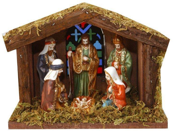 Betlém dřevěný svítící 6 postav, vánoční betlém