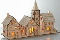 Vánoční dřevěná vesnice - svítící 3 domky