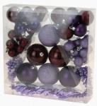 Vánoční koule - set 52ks - fialové #