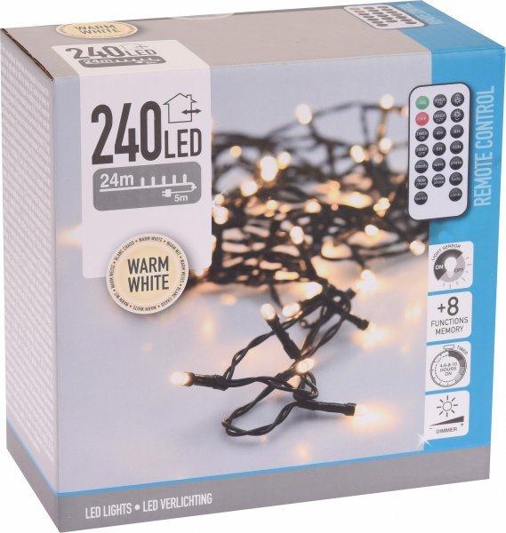 LED řetěz 240 LED/24m teplá bílá + ovladač 8 programů 31V