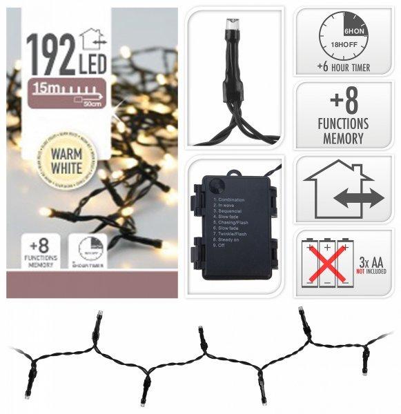 Vánoční LED řetěz na baterie 192 LED/14,5m teplá bílá