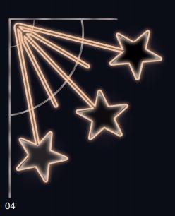 Padající hvězdy - teplá bílá 1,10x1,25m