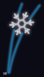 Letící vločka - modrá/studená bílá